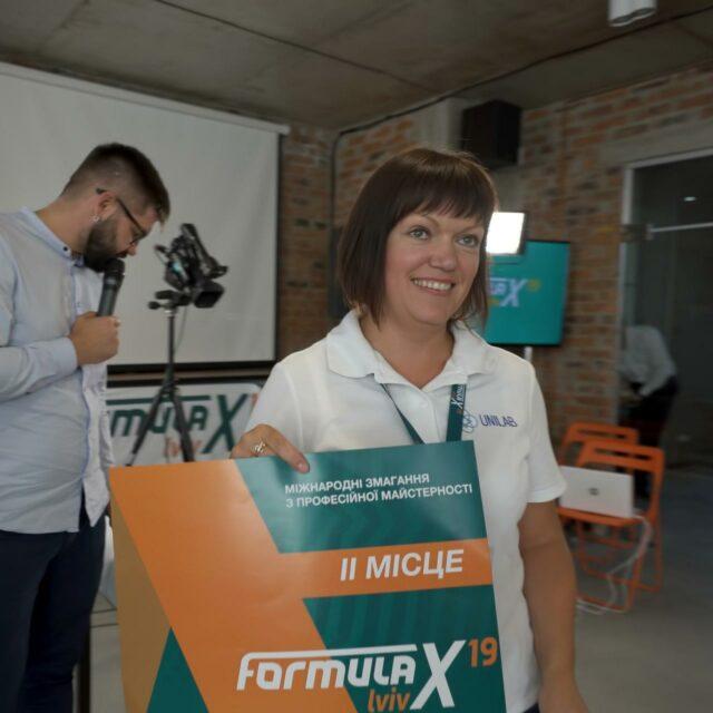 Antoniv Galyna 2 place winner of Formula-X 2019 Dusseldorf Race Pipetting skills contest