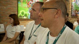 Yurii Lebedin and Andriy Yefanov is watching Formula-X Lviv 2019 Race pipetting skills contest