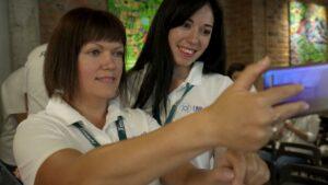 Racers taking photo for memomries at Formula-X Lviv 2019 pipetting skills contest
